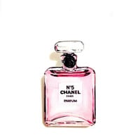 Coco Chanel, Fashion print, Chanel nº 5 Parfum bottle print, Cool, Funny, Acrylic, Plastic, watercolor, Black, brooch, Pin, Gift Souvenir