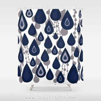 Blue Raindrop Modern Shower Curtain 71 X 74 Geometric Dots Gre