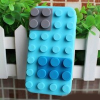 LeGo Block Case Style Soft Silicone Case Cover for iPhone 4 and 4S blue