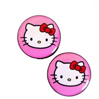 HELLO KITTY Logo Fit Surgical Steel Ear Tunnel plug Body jewelry (00G)