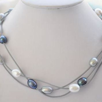 Elegant Handmade Real Pearl Jewelry 3row 18'' 14mm White Gray Black Rice Freshwater Pearl Gray Leather Necklace