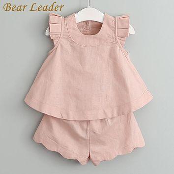 Girls Clothing Sets Fashion Sleeveless Solid O-Neck T-shirts+Pants for Girls Suits Kids Clothes