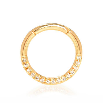 14k Gold + Pavé Diamond 16 Guage Septum Clicker Ring