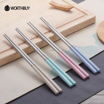WORTHBUY New Arrival 4 Pairs 304 Stainless Steel Chinese Chopsticks Wheat Straw Handle Reusable Chopsticks For Kids Picnic Hashi
