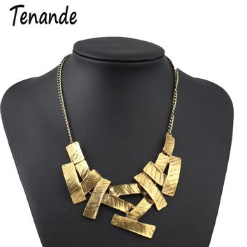 Tenande Punk Chunky Chain Necklaces Big Statement Geometric Patterns Necklaces Pendants for Women 2 Color Night Club Jewelry
