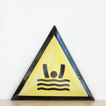 Keep Out - Deep Water, Vintage Enamel Sign, Warning Sign, Bright Yellow, Summer Swim, Ocean Swimming Pool, Black Yellow Bright
