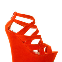 Open Toe Suede Wedge