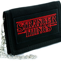 Stranger Things Tri-fold Wallet with Chain Alternative Clothing Supernatural Horror