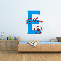 Wall Decal Name Boys Vinyl Sticker Personalized Custom Name Soccer Decals Football Decor Sports Mural Kids Children Name Boys Room AN606