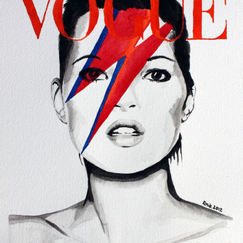Vogue Magazine Cover. Kate Moss as David Bowie. Fashion Illustration. Art Print by Feeling Artsy | Society6