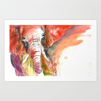 Elephant Art Print by Julie Raven