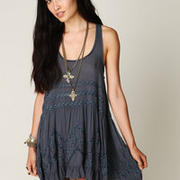 Free People Blue Intimately Womens Voile And Lace Trapeze Slip