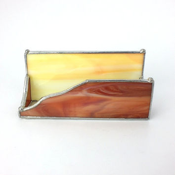 Southwestern Stained Glass Business Card Holder Sunset Orange and Sunrise Yellow Glass for Desk Display