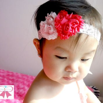 Valentines Headband, Baby headband, Petite Shabby hearts headband, Baby Girls Headbands, Newborn headband, Photography newborn baby props