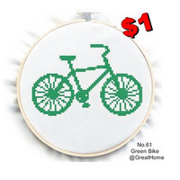 Green Bike , Counted Cross Stitch Pattern, Beginner Cross stitch , PDF No.61