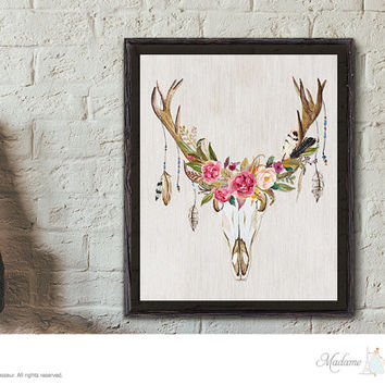 floral antler art print instant download printable floral deer art DIY art print wall art prints rustic art prints home decor printable art