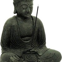 Meditating Buddha Statue and Incense Holder Volcanic Sandstone Black Stone by Buddha Groove