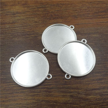 10pcs/20mm Silver Plated Connectors Necklace Pendant Setting Cabochon Cameo Base Tray Bezel Blank Jewelry Findings&components