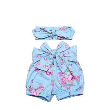New style baby girl PP pants summer boutiques baby girls vintage floral ruffle Panties with bow knot headband shorts girls