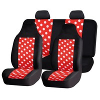 HOLIDAY SALE : FH-FB115114 Full Set Fun Polka Dots Car Seat Covers , Red color- Fit Most Car, Truck, Suv, or Van