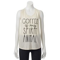 Mighty Fine ''Coffee Is My Spirit Animal'' Juniors' Muscle Tee, Size: