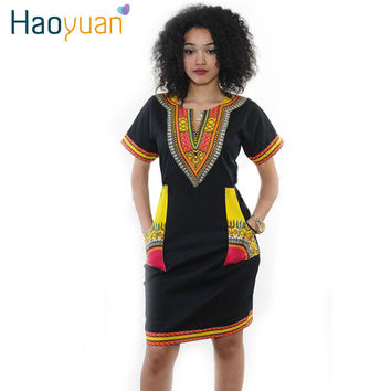 2016 New Summer Vintage Dashiki Dress Robe Sexy Casual African Print Short Sleeve Ladies Indian Dresses Plus Size Women Clothing
