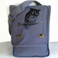 Owl Tree Messenger Bag Blue Canvas Messenger Owl on Branch Field Bag