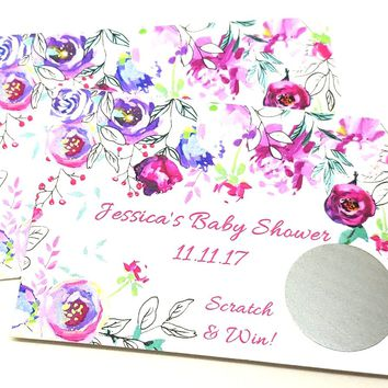 10 Floral Scratch Off Cards Baby or Bridal Shower Anniversary or Birthday Party Game