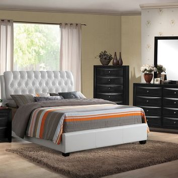 5 pc Ireland III Collection Black finish wood queen bed set with tufted white leather like vinyl panel headboard