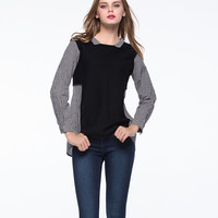 Block Long-Sleeve Knitted Blouse