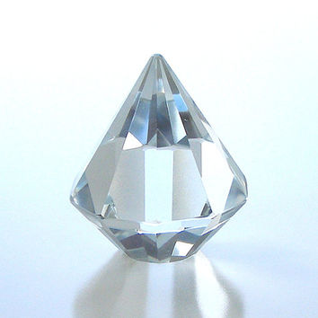 Collectible Crystal Diamond Paperweight Vintage Home Decor