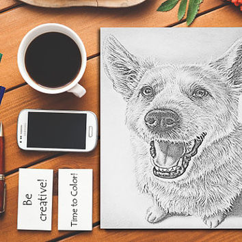Printable coloring page, Adult Coloring Page, Coloring Book, dog coloring, grayscale coloring, coloring book adult, dog art