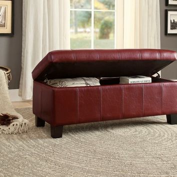 Clair collection red bycast vinyl upholstered storage ottoman bench with baseball stitching