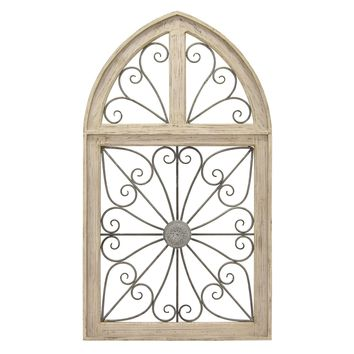 Three Hands Metal and Wood Three Pane Open Scroll Wall Art Décor - 48-3/4-in