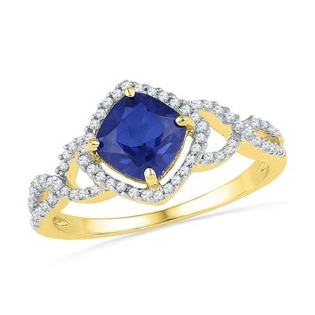 10kt Yellow Gold Womens Princess Lab-Created Blue Sapphire Solitaire Diamond Accent Ring 1-1/10 Cttw