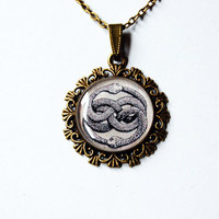 AURYN Ouroboros, The Neverending Story Mystical Talisman - Handmade Vintage Cameo Pendant Necklace