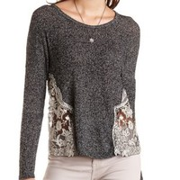 Embroidered Mesh & Sweater Knit Top by Charlotte Russe - Black Combo