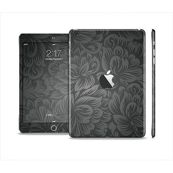 The Black & Gray Dark Lace Floral Skin Set for the Apple iPad Mini 4