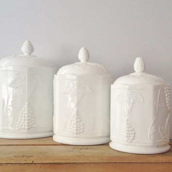Indiana Milk Glass Canister - Carnival Harvest Grape pattern - Set Of 3