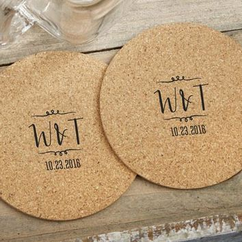 Personalized Round Cork Coasters - Vineyard (Set of 12)