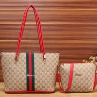 Gucci New Fashion Women Leather Satchel Bag Shoulder Bag Handbag Crossbody Set Two Piece