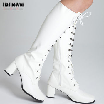 Jialuowei Women Boots Spring Autumn New Fashion Ladies Sexy Knee High Boots Zipper Long Boots Square High Heels shoes Size 36-46