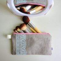 Lace and Linen Pouch/ Pencil Case with Bike Zipper Pull (waterproof lining) by handmadephilosophy