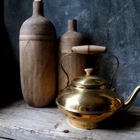 Brass Tea Pot: Vintage Rustic Brass Tea Kettle, Wood Handle, Cottage Chic, Farmhouse Decor, French Country Home