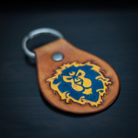 Alliance WoW Keychain / Key Fob ~ Grand Alliance / World of Warcraft ~ Wow Key chain ~ Hand Tooled Leather Key Fob