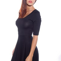 Flirt with Finesse Three Quarter Sleeve Cross Back Skater Dress - Black