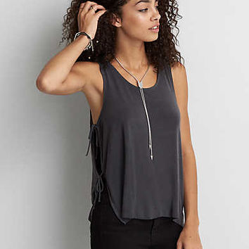 AEO Hi-Neck Side Tie Tank , Black