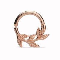 Leaves Septum Ring Nose Ring Body Jewelry Rose Gold Plated Silver Bohemian Fashion Indian Style 14g 16g - SE036R T1