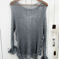 OVERSIZED Woman sweater/ Knit sweater in light grey