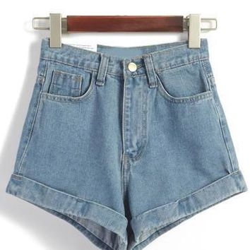 Blue High Waisted Loose Denim Shorts - White/Light Blue/Deep Blue